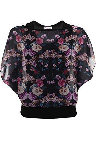FANTASIA BOUTIQUE pour femmes évasé Sans manche Fleur Paisley Taille Élastique Mousseline de soie Haut Tunique Long Noir Floral (haut)