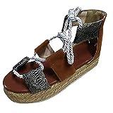 ✔piabigka✔ Espadrillas Donna Zeppa,Donna Sughero Forma Piatta Espadrille Sandali con Zeppa alla Caviglia da Allacciare Scarpe Numeri