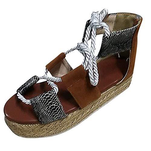 DEELIN Sandalen Damen Open Toe Snake Print dicken unteren Schnürschuhe römischen Sandalen Hd-snake Boots