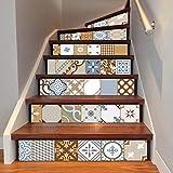 Quner Treppe Aufkleber, Selbstklebend Wasserdicht DIY Wandtattoo PVC 6 Stück Treppen Abziehbild Dekor Entfernbare Abziehbilder (Stil 3)