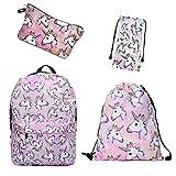 Leah's fashion Sac à dos unisexe Sac à dos pour école Sac à bagages entièrement imprimé pour cabine Sac de voyage en licorne(Pack Of 3)