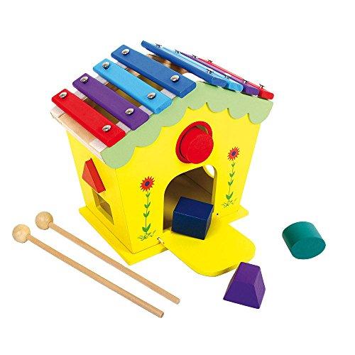 """Klang- und Spielhaus """"Dodoo"""" aus Holz, mit Xylophon-Dach mit zwei Holzstäben und 5 Steckklötzen, fördert die Formerkennung und Motorik, für Kinder ab 18 Monaten (Musik-dach)"""
