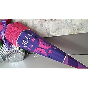 Schmetterling lila-pink Schultüte Stoff + Papprohling als Kissen verwendbar