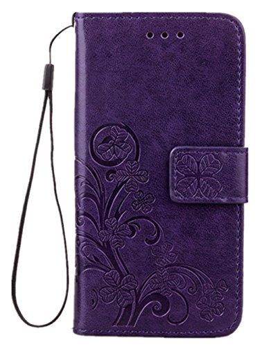 Luxus Tasche für Apple iPhone 8 und iPhone 7 Case Außenseite aus Echt Leder Innenseite aus Textil Schutz Hülle seitlich aufklappbar Ultra Slim Cover Hülle Four Leaves Clover (Lila) Deckel-case