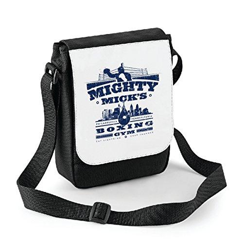 Mini borsa a tracolla Mighty Micks Boxing Gym - Rocky Balboa - Micky - idea regalo -tracolla regolabile - misura 18x22 cm Bianco