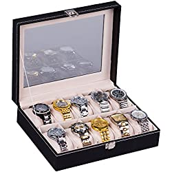 H&S® Glass Lid 10 Watch Jewellery Display Storage Box Case Bracelet Tray Faux Leather Black