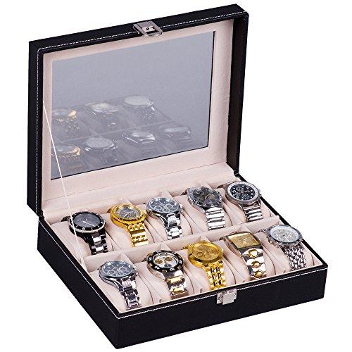 hsr-glass-lid-10-watch-jewellery-display-storage-box-case-bracelet-tray-faux-leather-black