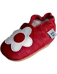 Dotty Fish - Chaussures de bébé en cuir souple Motif de fleur blanche et rouge