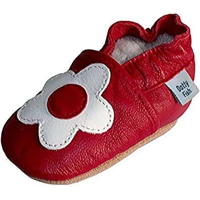 Soft Leather Baby girl Shoes with Suede Soles by Dotty Fish Red and White Flower design - 0-6 months
