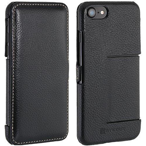 StilGut Book Type Case mit Standfunktion und Clip, Hülle Leder-Tasche für iPhone 8 und iPhone 7 (4,7 Zoll), Schwarz Schwarz