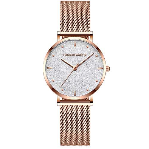 Damen Klassisch Uhren Analog Quarz Armbanduhr Schwarz Zifferblatt mit Rosegold Edelstahl Milanese Band