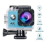 Topjoy F60 4K Ultra HD cámara de deportes de acción WIFI impermeable cámara del deporte con 2,0 pulgadas de pantalla LCD y 170 lente gran angular para Ciclismo Buceo (Azul)