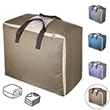 Storage Bags with Zips, Qozary Duvet Storage Bag, Large Storage Bags for Clothes, Bedding, Quilt, Blankets, Clutter, Moving, Made of Better, Comfortable and No-Smell Fabric, Laundry Bags Available in 4 Colours (Brown)