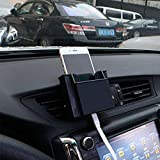 Car Air Vent Outlet Plastic Phone Card Holder Automobiles Mobile Phone Hanging Pocket Storage Box Pouch Car Supplies(Black) By Density Collection