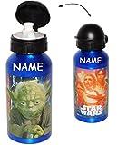 Alu Trinkflasche / Sportflasche - auslaufsicher - ' Star Wars - Darth Vader ' - incl. Name - aus Aluminium 450 ml - für Kinder - Aluflasche 0,45 Liter / 450 ml - Flasche - Jungen / Fahrradflasche - Krieg der Sterne - Luke / Anakin Skywalker - Yoda - Jedi - Kindergarten / Schule - Fahrradtrinkflasche