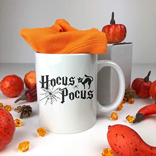 FloradeSweet Hocus Pocus Keramiktasse Happy Halloween Becher Kaffeetasse Lustiges Geschenk Herbst Keramik Halloween Cat Spider Becher Lustige Spruch Becher