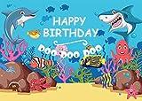 AIIKES 2.1Mx1.5M/7x5FT Vinilo Tiburón Fondo de Fotografia Azul Tema Oceano Pez Debajo El mar Bebé Niños Cumpleaños Partido Bandera Foto Fondo para Foto Estudio 11-444