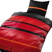 2piezas 155x 220cm negro/rojo, funda nórdica de cama (Calidad)