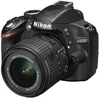 Nikon D3200 + Nikkor 18/55VR II new, Fotocamera digitale reflex con obiettivo singolo, 24,2 Megapixel, SD 8GB 200x Premium Lexar, colore: nero [Nital card: 4 anni di garanzia]