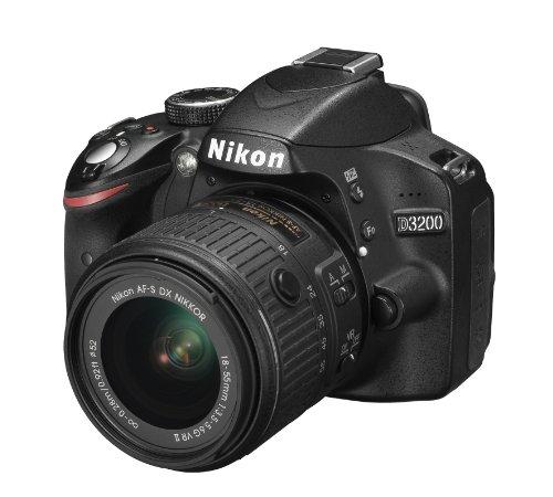 Nikon D3200 Fotocamera Digitale Reflex 24.2 Mbps + Nikkor 18/55VR II, SD 8GB, 200x Premium Lexar, Nero [Nital Card: 4 Anni di Garanzia]