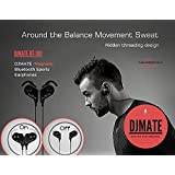 DJMATE Bluetooth Wireless v4.1 Sports Sweatproof Magnetic Secure Fit Noise Cancelling Headset with Mic with Zipper Bag (Black)
