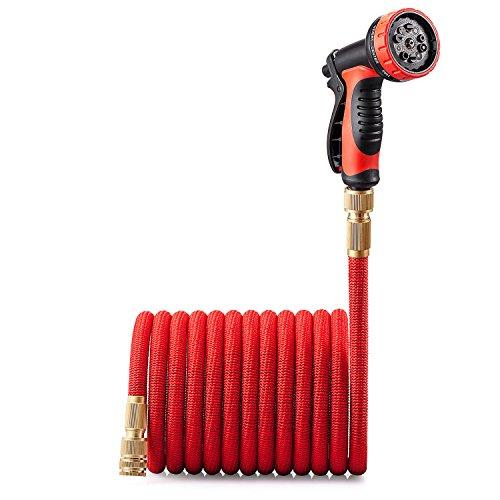 GroHoze Erweiterbar Flexible Solide Messing Verbinder Gartenschlauch mit 10 Funktion Spritzpistole - 100FT(30M) Rot