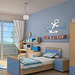 Personalizado náuticas nombre Monogram con barco ancla bebé niño o niña para pared