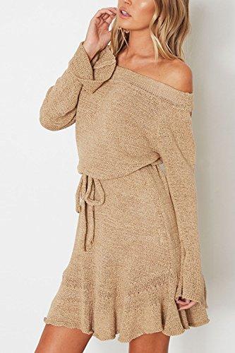 Le Donne Casual Da Cintura Di Sicurezza Lavce Su Slim - Swing Mini Vestito Khaki