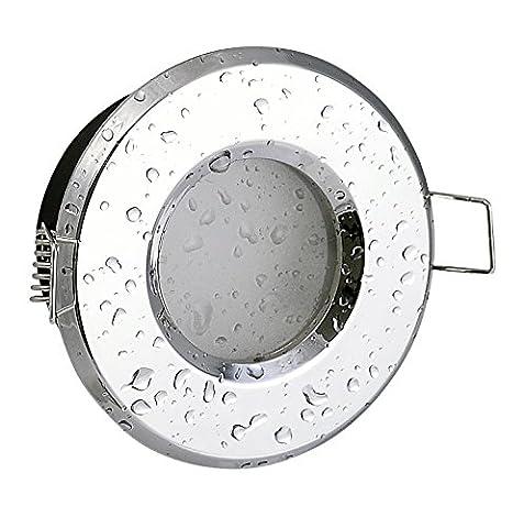 Bad Einbaustrahler IP65 Chrom glänzend 230Volt GU10 Fassung (ohne Leuchtmittel) für LED und Halogenleuchtmittel 49 -