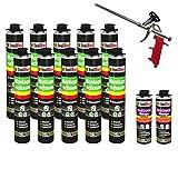 SET Pistolenschaum 10 Dosen 750 ml Montageschaum 1K Bauschaum PU-Schaum + 2 Reiniger + 1 Schaumpistole