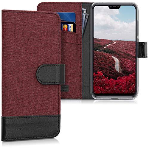 kwmobile Funda para Xiaomi Mi 8 Lite - Carcasa de Tela y [Cuero sintético] - con Tapa y [Tarjetero] [Rojo Oscuro/Negro]