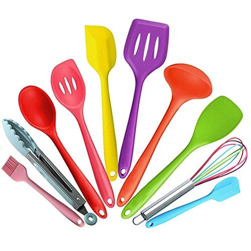 Fayear 10 Stück Premium Silikon Küchen Utensilien Set Küchenhelfer Küche Kochutensilien Set Schaufel Umwelt Tool-Kit (Bunte) -