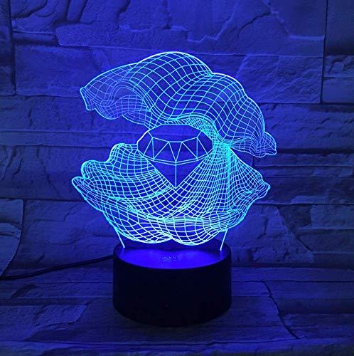 Perlmutt 3D-Nachtlicht LED 7-farbige variable Tischleuchte mit rautenförmiger Lampe als Wohndeko-Geschenk
