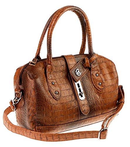 Italy BOWLING Bag Tasche Schultertasche Handtasche Henkeltasche Leder-Optik (T.MORO / Dunkelbraun) (Tasche Leder Bowling Kleine)