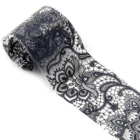 Hunpta 1rouleau 4*100cm Noir en dentelle Ciel étoilé Motif Nail Art Foil Stickers transfert Autocollant Conseils Manucure