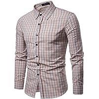 ZIYOU Herren Hemd Kariert Slim fit Hemden, Männer Trachtenhemd Oberteile für Freizeit Business Arbeit Langarm Button-down T-Shirts