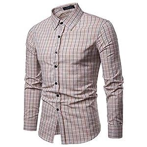 Junjie Herren T-Shirt,Männer Solide Hemden Slim Langarm Sweatshirt Tops Bluse Tops Jacke Mantel Patchwork Retro Herbst Winter