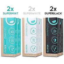 happybrush vegane Zahncreme | ohne Plastik, recyclebar & glutenfrei | natürliche Zahnreinigung & Whitening mit Minze & Aktivkohle | SuperMint, SuperWhite & SuperBlack Zahnpasta 6er Mix (6x 75ml)