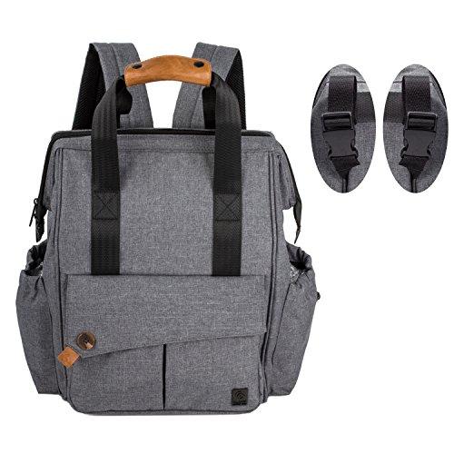 ALLCAMP Wickeltasche, Windelrucksack mit großer Kapazität Taschen, unterstützen alle Kinderwagen mit Wickelunterlage (grau) (Taschen Mehrere Offene)