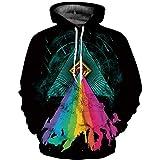 XYL HOME Hoodie,Unisex realistische 3D Regenbogen Pyramide Digitaldruck Mode Pullover Hoodie Kapuzen Sweatshirt Pullover, 2XL