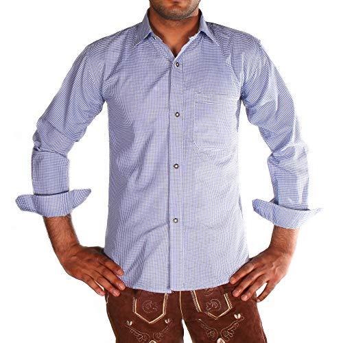 Gesteiner Leather Herren Trachtenhemd Trachtenhemden für männer karriert Trachten Hemd Langarm Regular fit Baumwolle mit krempelärmeln verschiedenen karo Farben (XL, Blau)