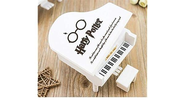 WooMax in Legno Bianco Carillon a Forma di Pianoforte di Harry Potter Idea Regalo per Compleanno e Natale