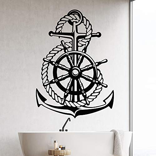 Ocean Sea Style Steering Wheel Ship Anchor Sailor Vinyl Wall Decal Home Decor Living Room Art Mural Wall Stickers Gift Blue 43x60 cm
