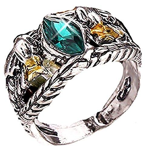 ♚ Rgrn - Ring Aragorn Der Herr der Ringe mit Green Stone - Geschenk - Ideen für Männer (18) (Herr Der Ringe Steine)
