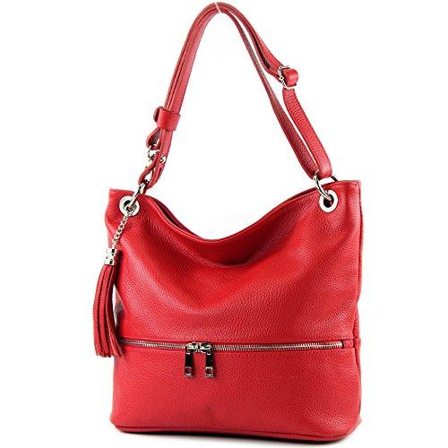 modamoda de - T143 - ital Schulter-/Umhängetasche aus Leder, Rot, siehe Beschreibung - Leuchtend Rotes Leder