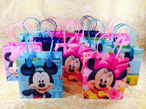 Disney Green Mickey and Minnie Party Favor Goodie Small Gift Bags 12 by Disney