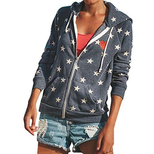 Drucken Voller Reißverschluss Kordelzug Kapuzenpullover Sweatshirts,OSYARD Frauen Zipper Tops Hoodie Kapuzenpulli Mantel Jacke Casual Star Jumper Mantel Outwear (XL, Dunkelgrau) ()