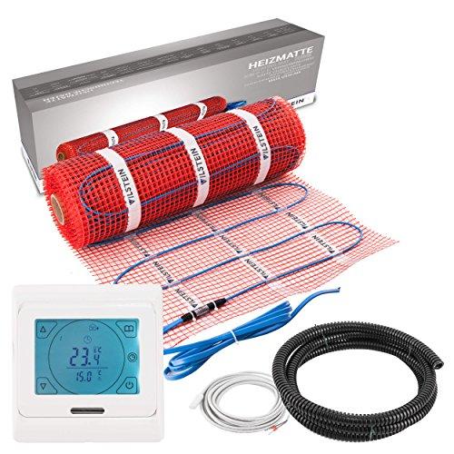 VILSTEIN© Elektrische Fußbodenheizung (5m² - 10m lang / 0,5m breit) Elektro Fußboden-Heizmatte 150W/m² für Fliesen-boden Fußboden-Heizsystem Elektrisch inkl. Thermostat TWIN Technologie Komplett-Set
