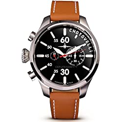 Chotovelli Aviator Pilot Men's Chronograph Watch Analogue display Tan leather Strap 52.11