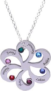 Collana Donna in Argento Collana famiglia Birthstone per 6 nomi -Nonna madre gioielli -Madre Birthstone Gioielli regalo di Natale